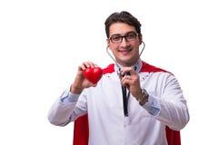 De super die held arts op wit wordt geïsoleerd Royalty-vrije Stock Afbeeldingen