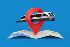 De super Trein van de Hoge snelheids Futuristische Forens over Gevouwen Abstracte Navigatiekaart met Doel Pin Pointer het 3d teru vector illustratie