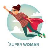 De super Vector van het Bedrijfsvrouwenkarakter Rode kaap Het schaak stelt bischoppen voor Creatieve Moderne Bedrijfs Super Vrouw stock illustratie