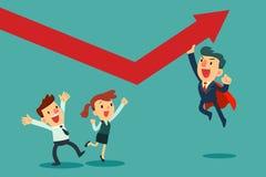 De super zakenman helpt omhoog zijn team duwende grafiek Royalty-vrije Stock Fotografie