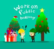De supervisor informeert de arbeider aan het werken aan officiële feestdag, het werk op Kerstmis, beeldverhaal vertoc stock foto