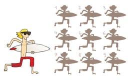 De surfer stelt Visueel Spel in de schaduw Stock Afbeeldingen