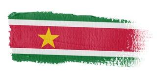 De Suriname van de Vlag van de penseelstreek Stock Afbeeldingen