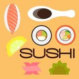 De sushi plaatsen vlak ontwerp Royalty-vrije Stock Foto