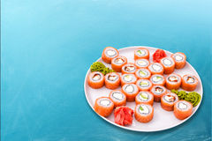 De sushi rollen Groot vastgesteld Philadelphia Royalty-vrije Stock Afbeelding
