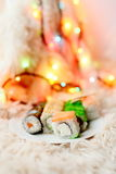 De sushi rolt Kerstmis Stock Foto