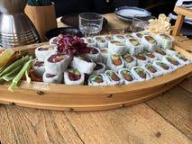 De sushi rolt Sushimenu Japans voedsel royalty-vrije stock foto