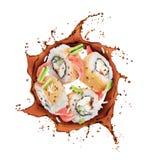 De sushibroodjes roteren in plonsen van sojasaus op witte achtergrond vector illustratie