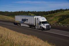 De SWIFT del transporte camión semi/Freightliner Cascadia foto de archivo