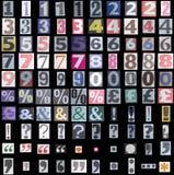 De symbolen en de aantallen van de krant Stock Afbeeldingen