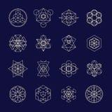 De symbolen en de elementen van het lijn geometrische ontwerp stock illustratie