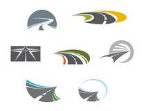 De symbolen en de pictogrammen van de weg Stock Foto