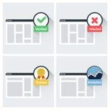 De symbolen en de pictogrammen van het websitevertrouwen Stock Afbeeldingen
