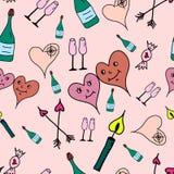 De symbolen naadloos patroon van de liefde Hand getrokken krabbels Vectorillustratie De dag van de gelukkige Valentijnskaart Stock Afbeeldingen