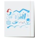 De symbolen op de zaken als thema hebben hand-drawn Stock Afbeelding