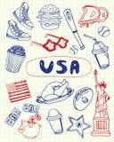 De Symbolen Pen Drawn Doodles Vector Collection van de V.S. vector illustratie