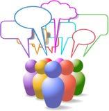 De symbolen sociale media van mensen toespraakbellen stock illustratie