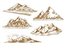De symbolen van berglandschappen met rivier en bos Royalty-vrije Stock Afbeeldingen