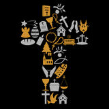 De symbolen van de christendomgodsdienst in groot kruis Stock Foto