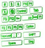 De symbolen van de computer op wit stock afbeeldingen