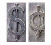 De symbolen van de dollar en van de cent Stock Afbeeldingen