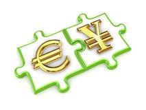 De symbolen van de euro en van de Yen op raadsels. Stock Afbeelding