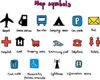 De symbolen van de kaart Stock Foto