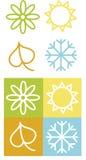 De symbolen van de kleur van de lente, de zomer, de herfst de winter royalty-vrije illustratie