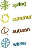 De symbolen van de kleur van de lente, de zomer, de herfst en de winter stock illustratie