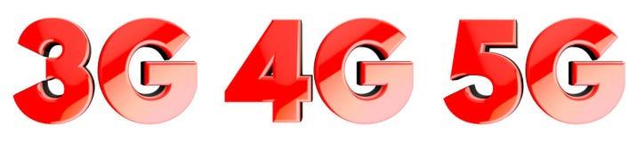 De symbolen van de netwerksnelheid: 3G, 4G, 5G 3d Stock Foto's