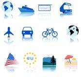 De Symbolen van de Pictogrammen van de Reis van de wereld Stock Afbeelding