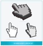 De symbolen van de pijlhanden van het Web geplaatst geïsoleerdr Stock Fotografie