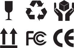 De symbolen van de verpakking Stock Foto's
