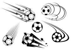 De symbolen van de voetbal en van het voetbal vector illustratie