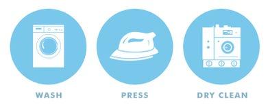 De Symbolen van de wasserij Stock Illustratie