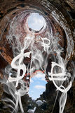 De symbolen van de wereldmunt in de vorm van rookvlotter weg in Royalty-vrije Stock Fotografie