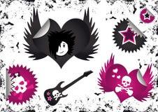 De Symbolen van Emo, de Kentekens van Etiketten en Stickers Stock Afbeelding
