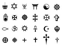 De symbolen van godsdiensten Stock Foto