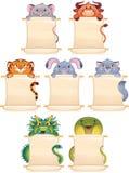 De symbolen van het beeldverhaal van Chinese horoscoop Stock Afbeeldingen