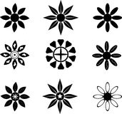 De symbolen van het bloemsilhouet Royalty-vrije Stock Foto