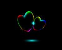 De Symbolen van het de daghart van abstract Trillend Valentine op zwarte achtergrond Royalty-vrije Stock Fotografie