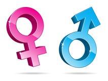 De Symbolen van het geslacht in 3D vector illustratie