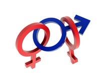 De symbolen van het geslacht - menage trois Stock Fotografie