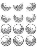 De symbolen van het de lijnembleem van de watergolf stock illustratie