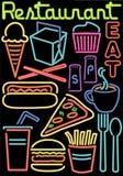 De Symbolen van het Restaurant/van het Voedsel van het neon Stock Foto's