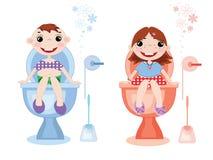 De symbolen van het toilet vector illustratie