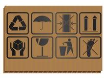 De symbolen van het vervoer op blad van karton Royalty-vrije Stock Foto's
