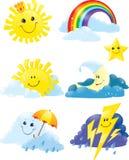 De symbolen van het weer Stock Foto's