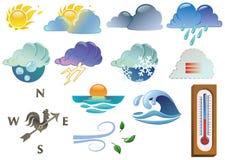 De symbolen van het weer Stock Foto