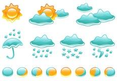 De Symbolen van het weer en de Fasen van de Maan stock illustratie